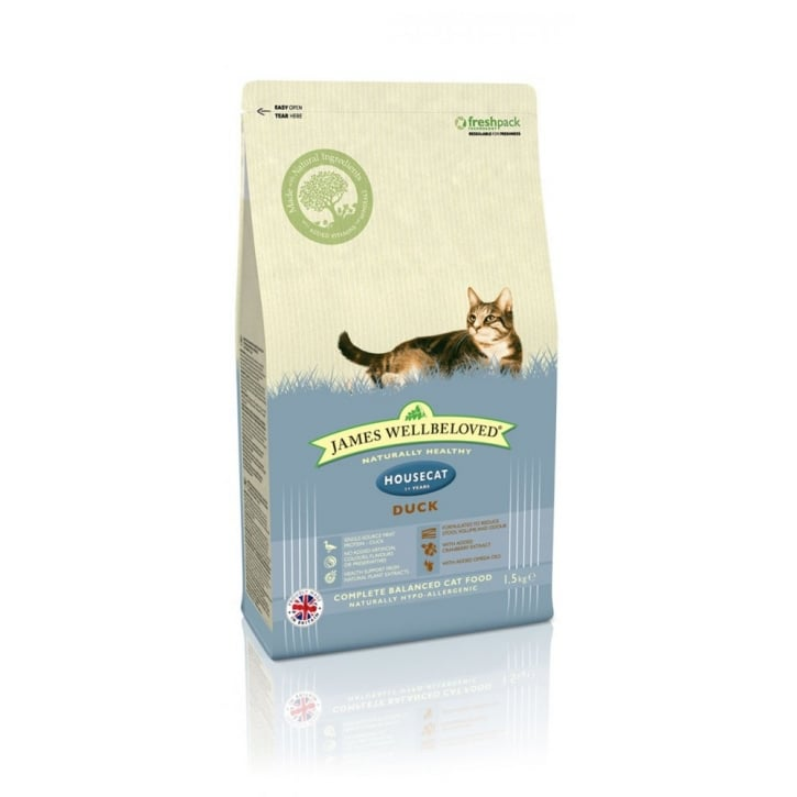 James Wellbeloved Housecat Adult Duck & Rice Cat Food 1.5kg