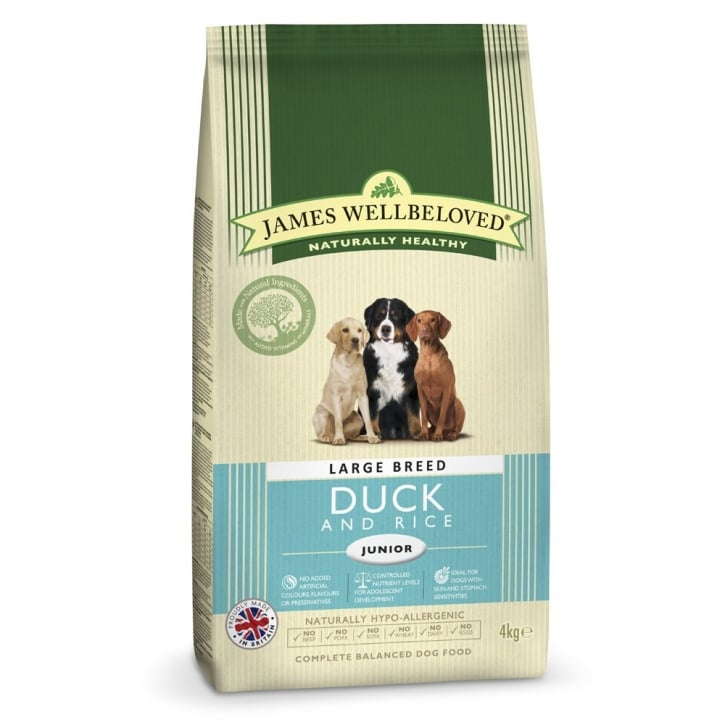 James Wellbeloved Large Breed Junior Duck & Rice Dog Food 4kg