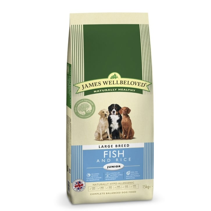 James Wellbeloved Large Breed Junior Fish & Rice Dog Food 15kg