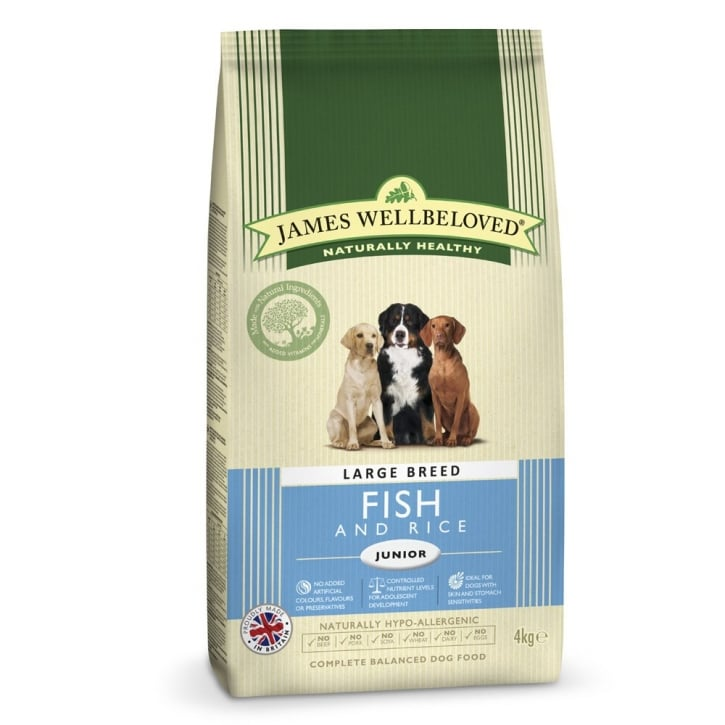 James Wellbeloved Large Breed Junior Fish & Rice Dog Food 4kg