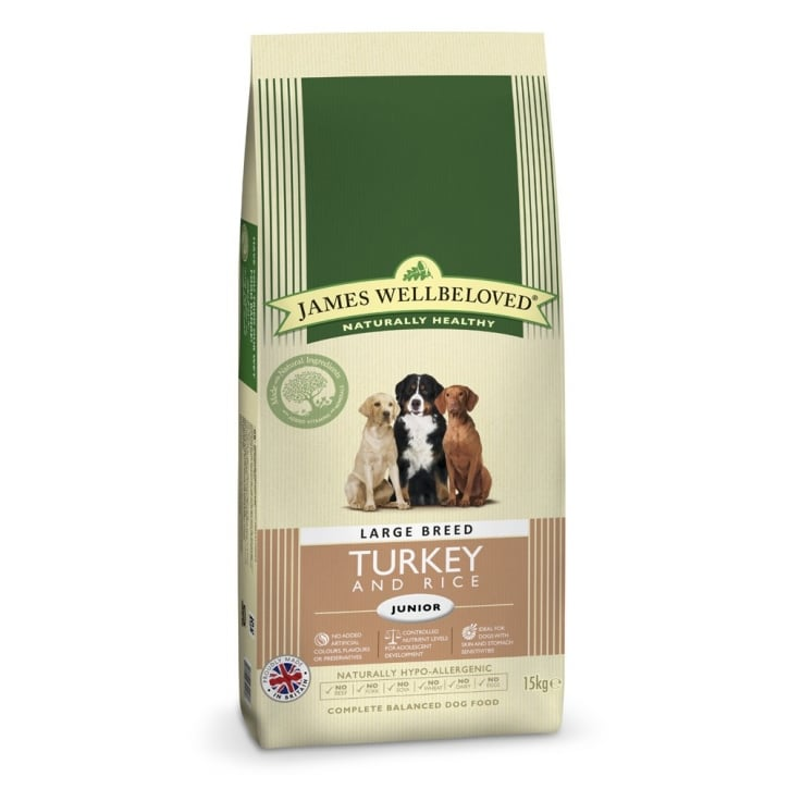 James Wellbeloved Large Breed Junior Turkey & Rice Dog Food 15kg