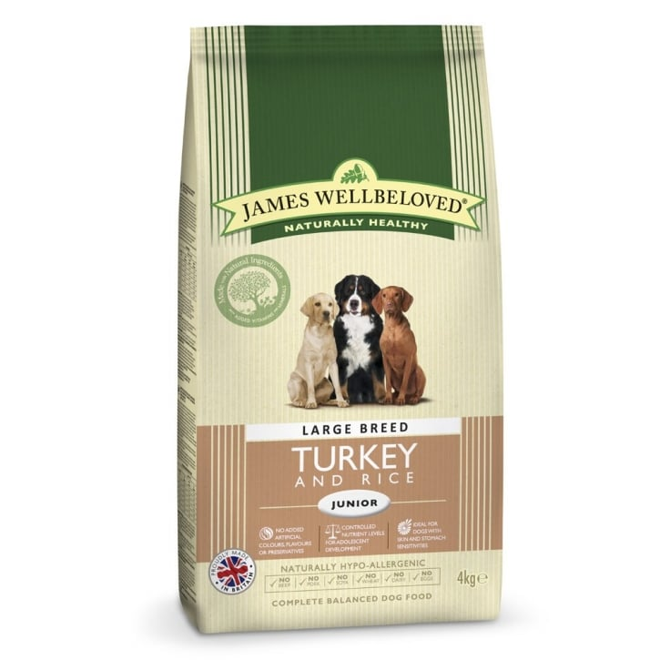 James Wellbeloved Large Breed Junior Turkey & Rice Dog Food 4kg
