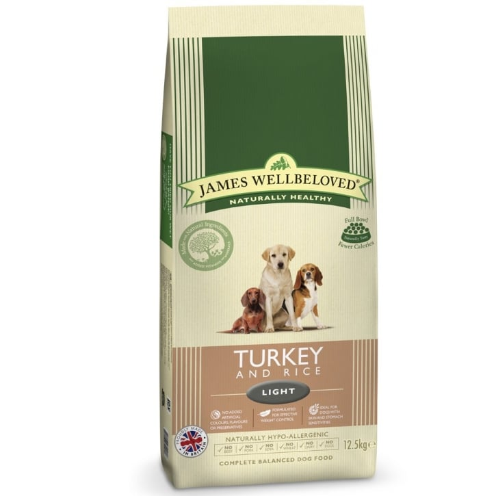 James Wellbeloved Light Adult Turkey & Rice Dog Food 12.5kg