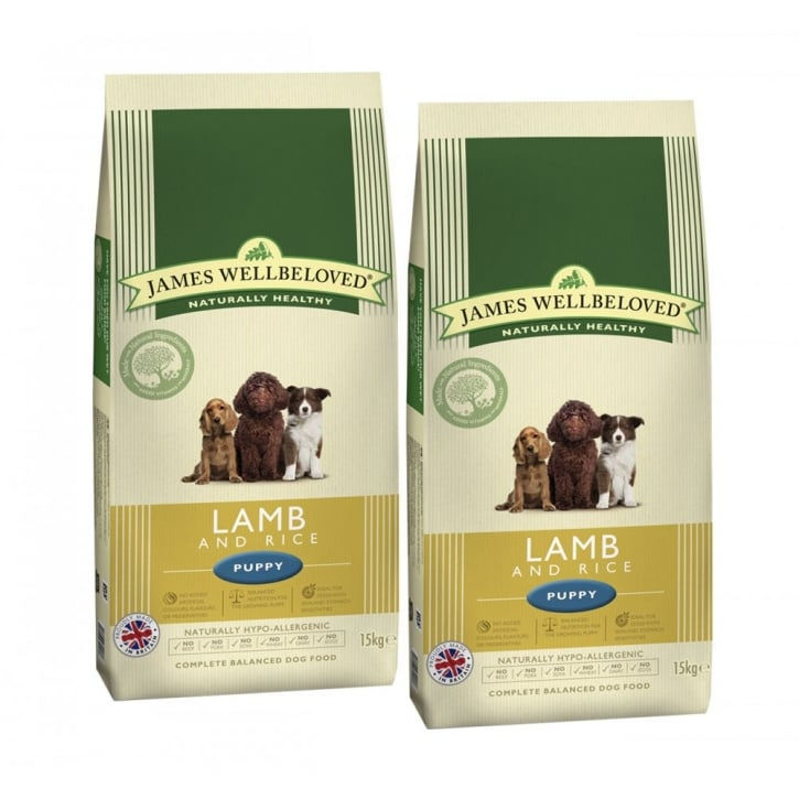 James Wellbeloved Puppy Lamb & Rice Dog Food 2 x 15kg