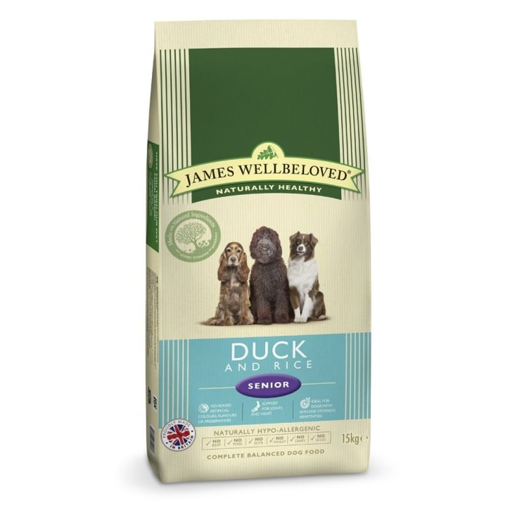 James Wellbeloved Senior Duck & Rice Dog Food 15kg