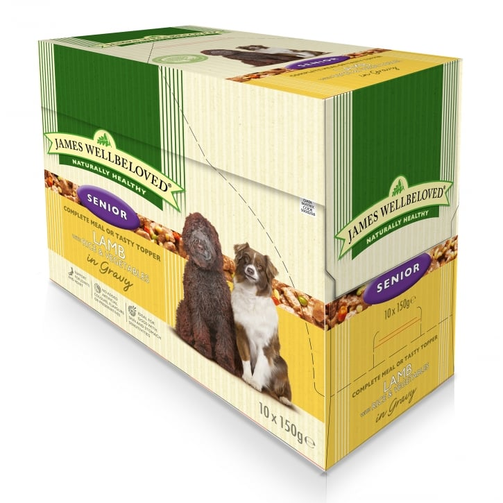 James Wellbeloved Senior Lamb with Rice & Vegtables in Gravy Pouch 10 x 150g