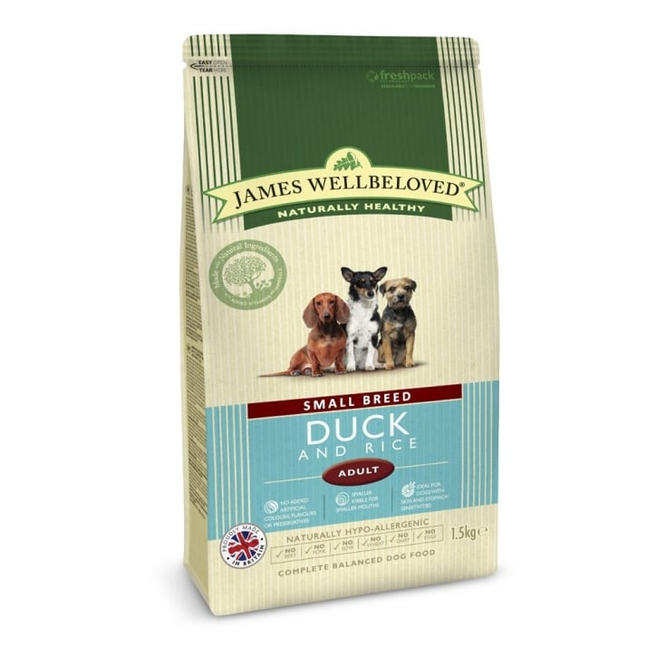 James Wellbeloved Small Breed Adult Duck & Rice Dog Food 1.5kg