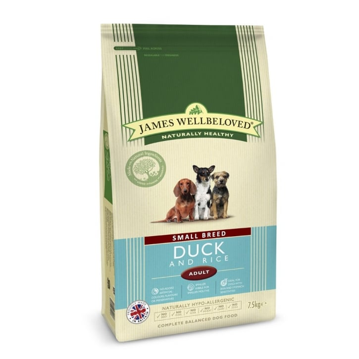 James Wellbeloved Small Breed Adult Duck & Rice Dog Food 7.5kg