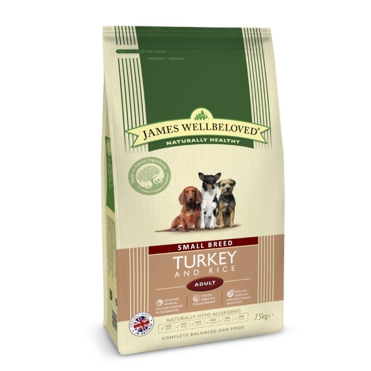 James Wellbeloved Small Breed Adult Turkey & Rice Dog Food 7.5kg