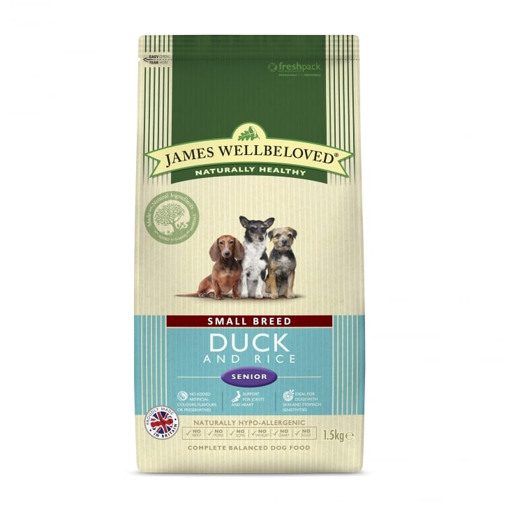 James Wellbeloved Small Breed Duck & Rice Senior Dog Food 1.5kg