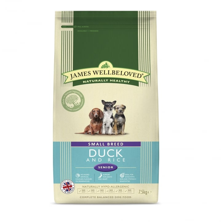 James Wellbeloved Small Breed Duck & Rice Senior Dog Food 7.5kg