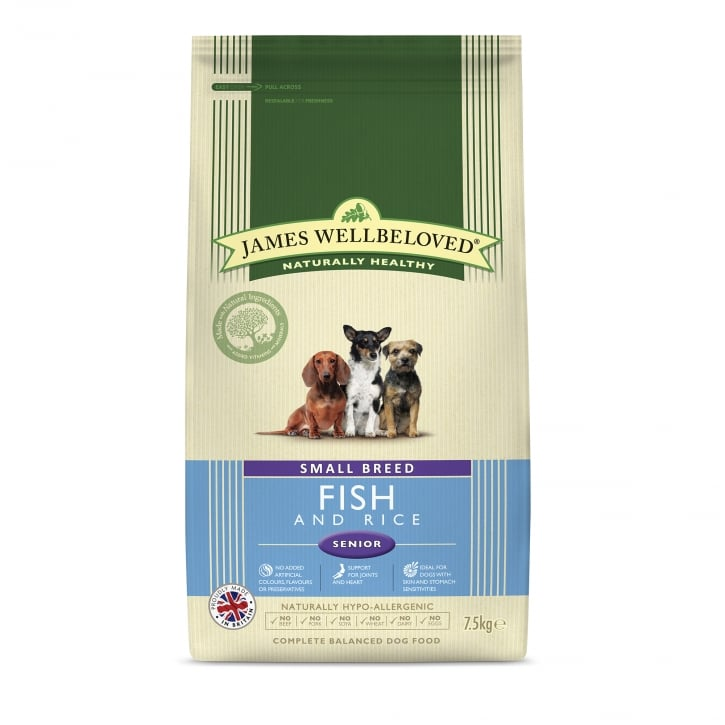 James Wellbeloved Small Breed Fish & Rice Senior Dog Food 7.5kg