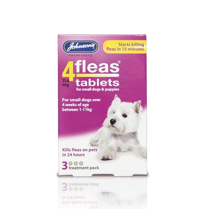 Johnsons Veterinary 4 Fleas Tablets Small Dog & Puppies 3 Tablets