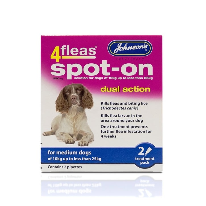Johnsons Veterinary 4Fleas Spot-on Dual Action for Medium Dogs 2 Treatments