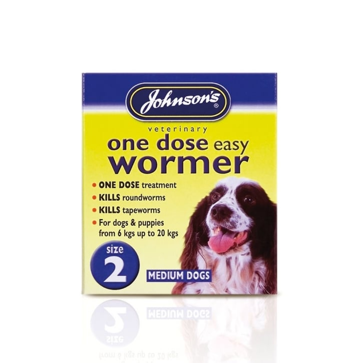Johnsons Veterinary One Dose Easy Wormer For Puppies & Dogs Size 2