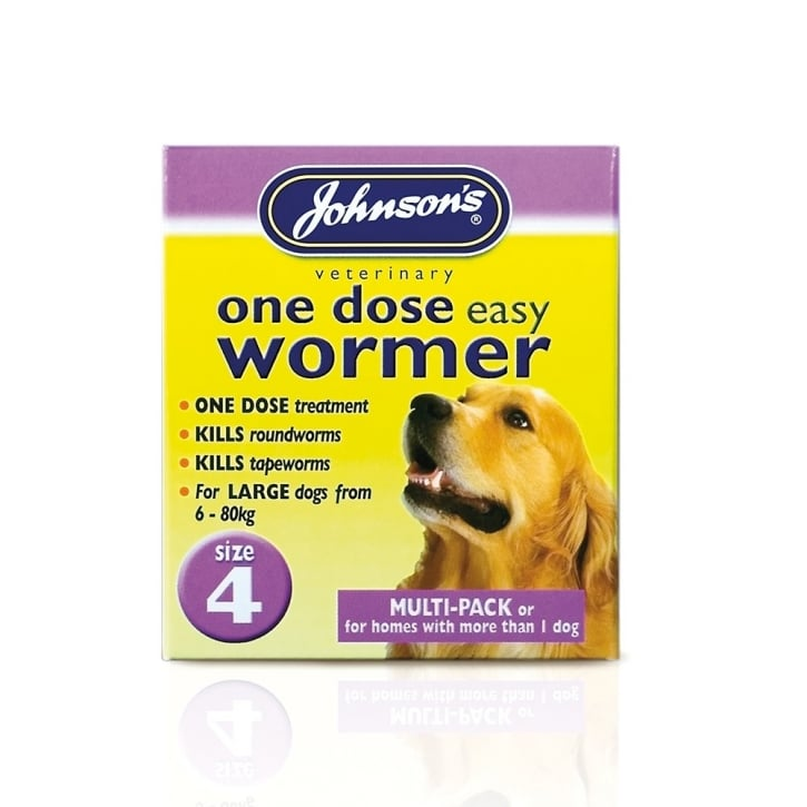 Johnsons Veterinary One Dose Easy Wormer For Puppies & Dogs Size 4