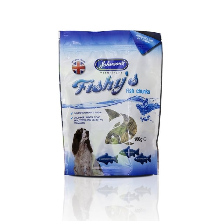 Johnsons Veterinary Fishy's Fish Chunks Dog Treat 100g