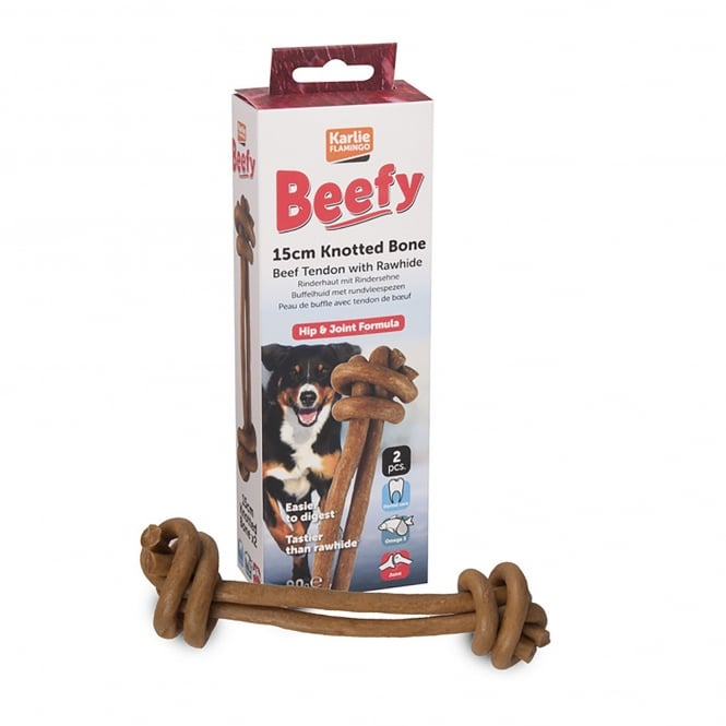 Karlie Flamingo Beefy Knotted Dog Bone 15cm Pack 2