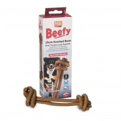 Beefy Knotted Dog Bone 15cm Pack 2