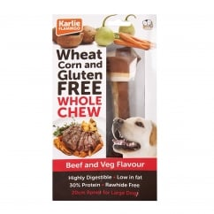 Karlie Flamingo Wheat Corn & Gluten Free Whole Chew Dog Bone Beef & Veg 20cm