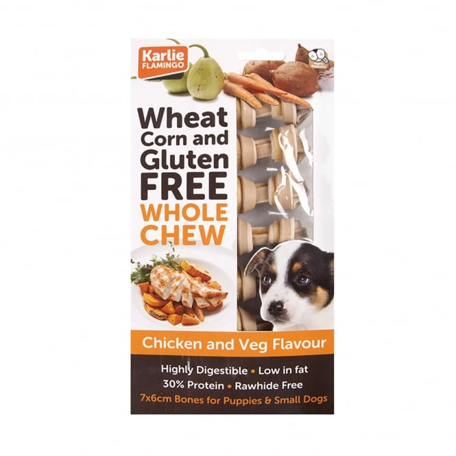 Karlie Flamingo Wheat Corn & Gluten Free Whole Chew Dog Bone Chicken & Veg Pack 7