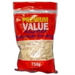 Premium Value Assorted Hide Dog Chew Treats 750gm