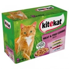 KiteKat Pouches Meat & Fish In Jelly Combo Cat Food Pack Of 12 x 100g