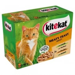 KiteKat Pouches Meaty Feast In Gravy Combo Cat Food Pack Of 12 x 100g