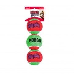 Squeakair Christmas Tennis Balls Dog Toy - Pack 3