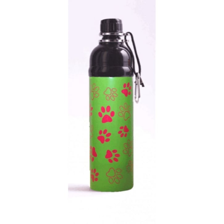 Long Paws Pet Water Bottle Green Paws Design 750ml