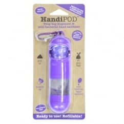 Magnet & Steel HandiPod Poop Bag Dispenser & Anti-Bacterial Hand Sanitiser - Purple