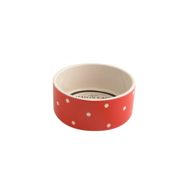 Mason Cash Polka Dot Red Ceramic Dog Bowl 18x8cm