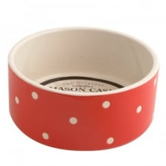 Mason Cash Polka Dot Red Ceramic Dog Bowl