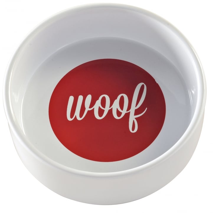 Mason Cash Woof Bowl White & Red 15 X5cm