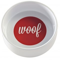 Woof Bowl White & Red 15 X5cm