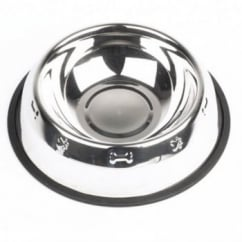 Stainless Steel Embossed Dog Bowl - 22cm