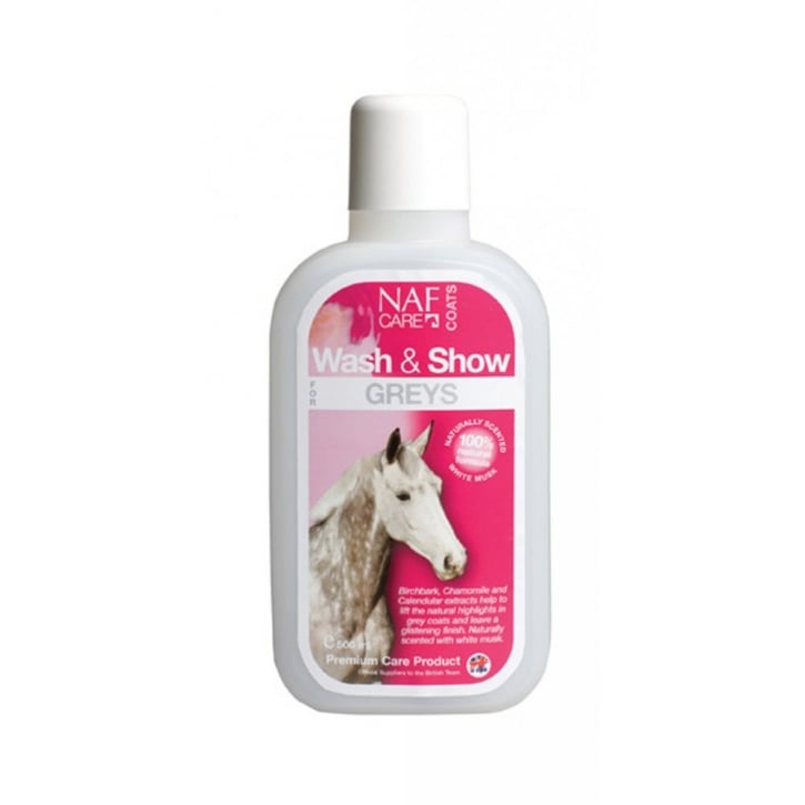 NAF (Natural Animal Feeds) Wash & Show Horse Shampoo For Greys 500ml