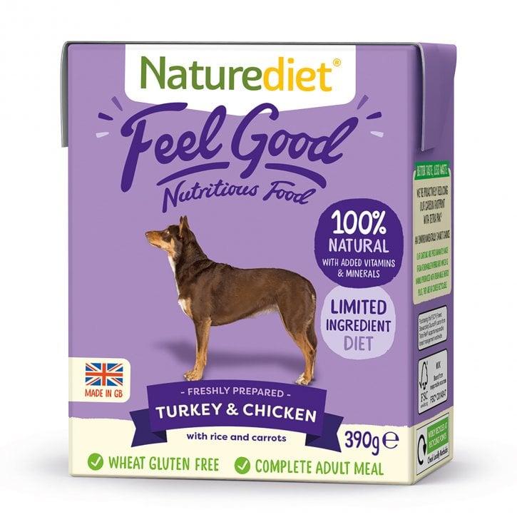Naturediet Feel Good Turkey Chicken Adult Wet Dog Food 390g Feedem