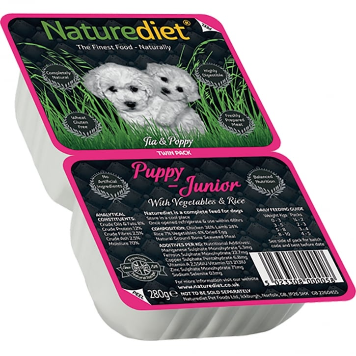 Naturediet Puppy / Junior With Vegetables & Rice 280g Twin Pack