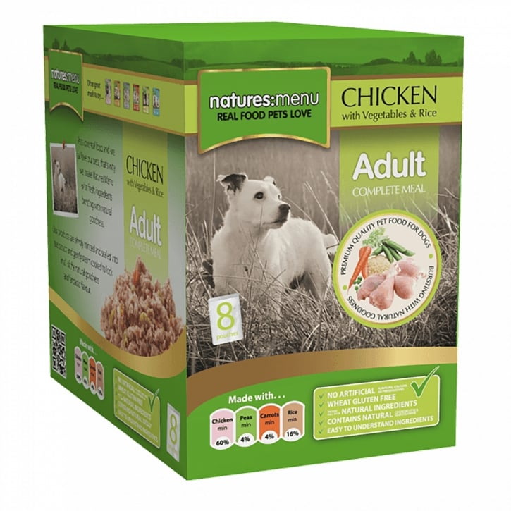 Natures Menu Adult Chicken with Vegetables & Rice Pouch For Dogs 8 x 300g