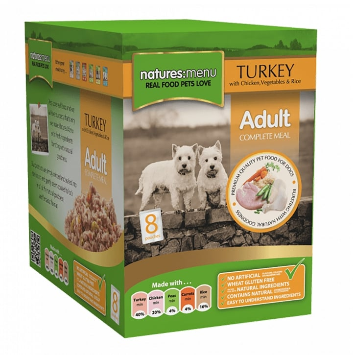 Natures Menu Adult Turkey With Chicken Pouch For Dogs 8 x 300g