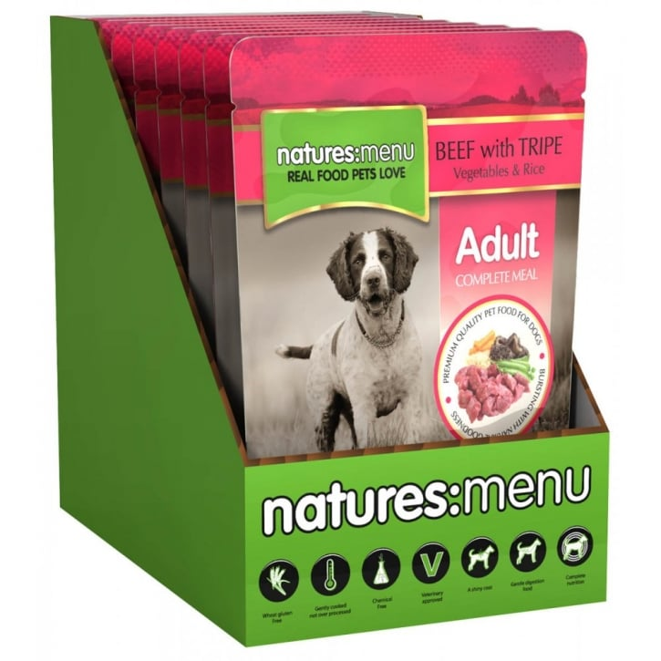 Natures Menu Natures Menu Adult Dog Complete Food - Beef & Tripe With Veg & Rice 8x300gm