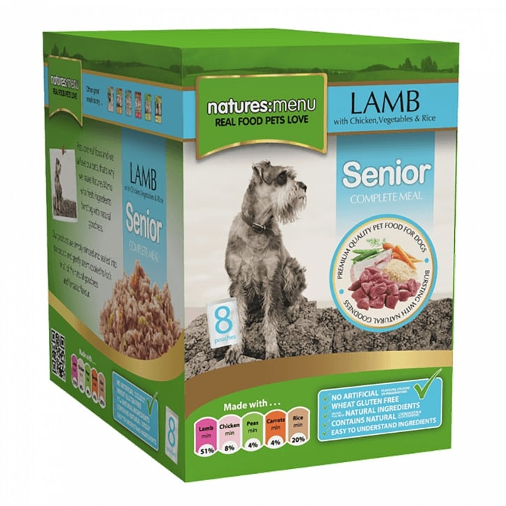 Natures Menu Senior Lamb with Chicken Pouch For Dogs 8 x 300g