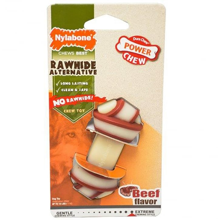 Nylabone Rawhide Alternative Knot Bone Beef Chew - Small