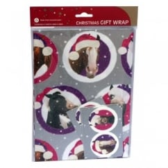 Otter House Festive Pucker Up Horses Christmas Wrapping Paper