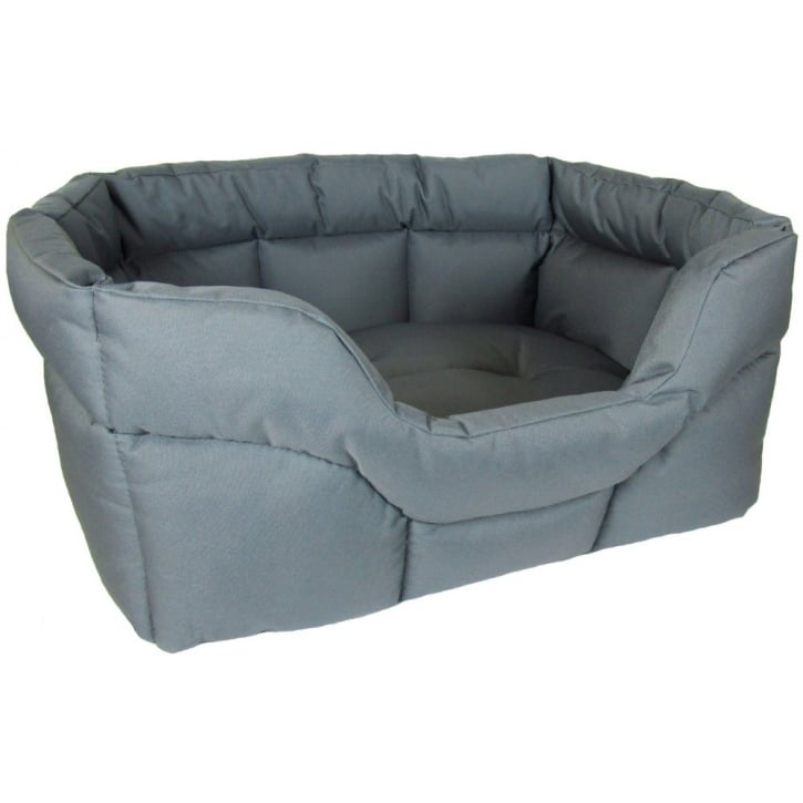 P & L Superior Pet Beds Country Dog Heavy Duty Rectangular Waterproof Softee Bed Grey Medium 57x47x24cm