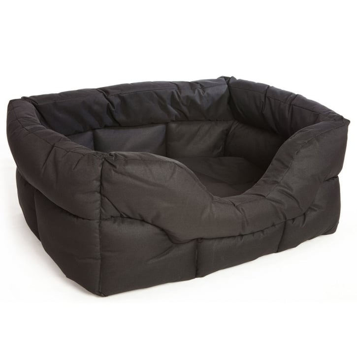 P & L Superior Pet Beds Country Dog Heavy Duty Rectangular Waterproof Softee Beds Black Large 75x60x27cm