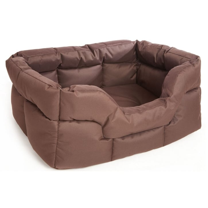P & L Superior Pet Beds Country Dog Heavy Duty Rectangular Waterproof Softee Beds Brown Large 75x60x27cm