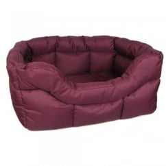 Country Dog Heavy Duty Rectangular Waterproof Softee Beds Burgandy Medium 57x47x24cm
