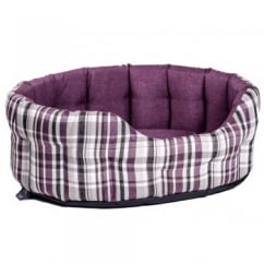 Oval Plaid Design Antibacterial Softee Bed Size 51x41x20cm Heather